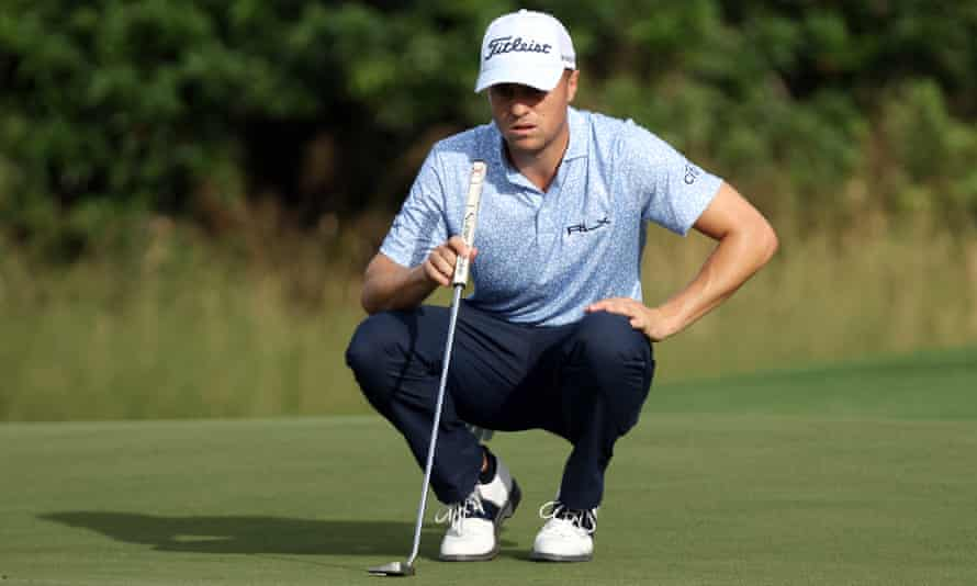 Justin Thomas lines up a putt on the 15th green during the Sentry Tournament Of Champions in Hawaii.