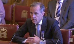 Mark Carney giving evidence to the Lords economic affairs committee