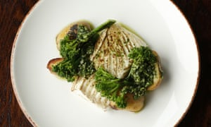 'The plate clears quickly': halibut on purple potatoes with broccoli.