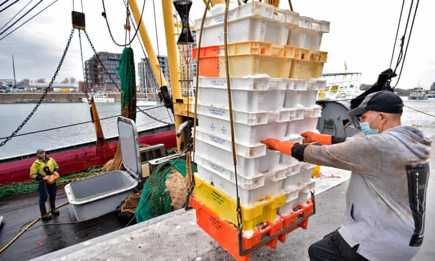 Fishermen unload boxes filled with freshly caught fish from the Den Hoope trawler boat at the Port of Ostend, Belgium.