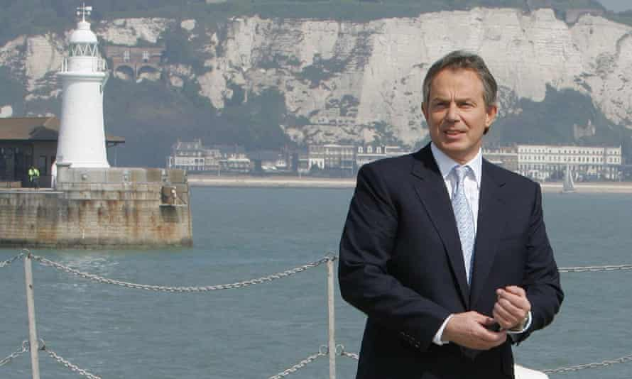 Tony Blair gives a speech on immigration, Dover, April 2005.