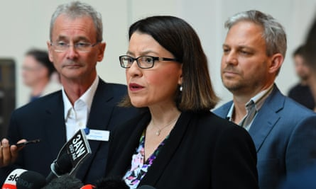 Victorian health minister Jenny Mikakos speaks to media at the Royal Children's hospital to address concerns about growing racism towards hospital staff
