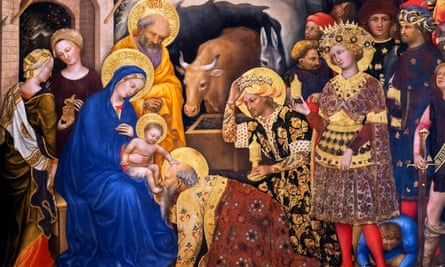 Detail from Adoration of the Magi by Gentile da Fabriano, 1423.