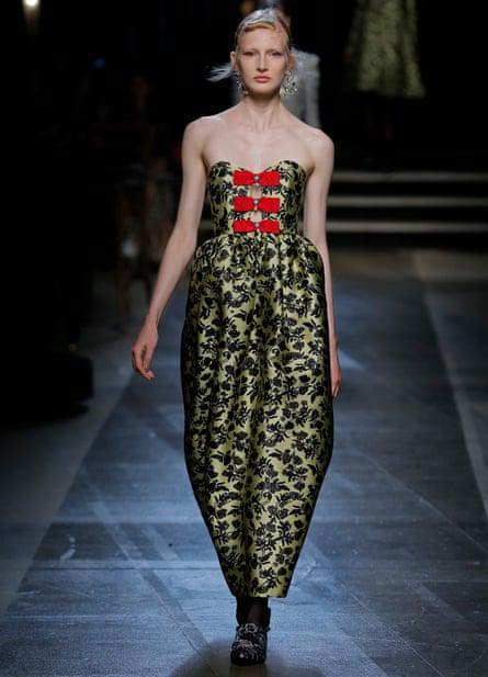 A model wearing a dress by Erdem during London fashion week, September 2017