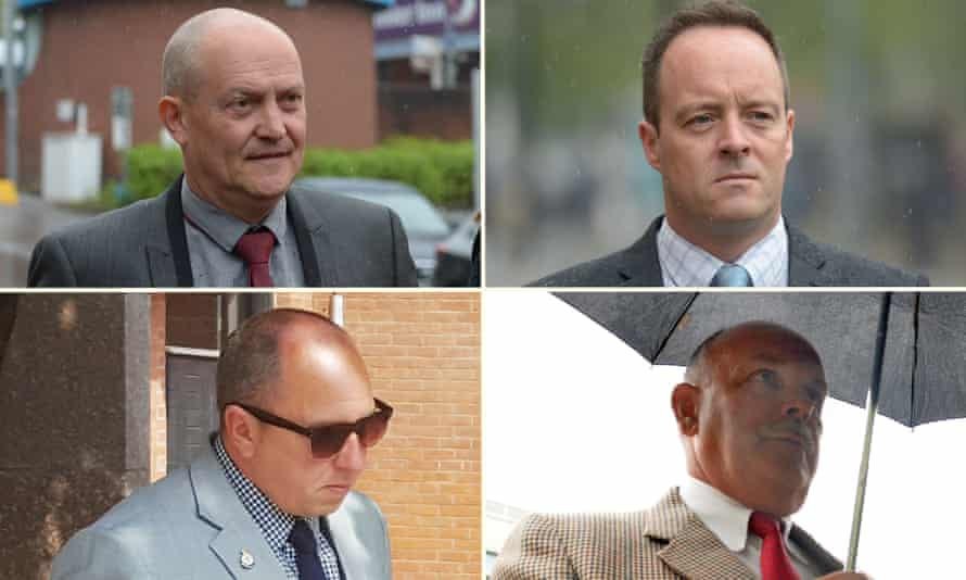 Clockwise from top left: Lee Walls, Matthew Lucas, Malcolm Reeves, Matthew Loosemore. The four were cleared of all charges.