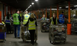 Workers at Sports Direct's warehouse in Shirebrook, Derbyshire