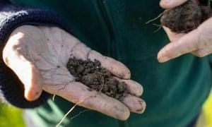 John Cherry holding soil at the farm