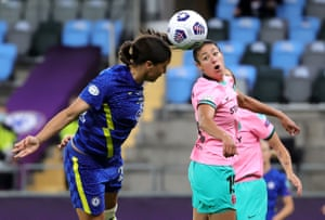 Chelsea's Sam Kerr (left) attempts to head the ball.