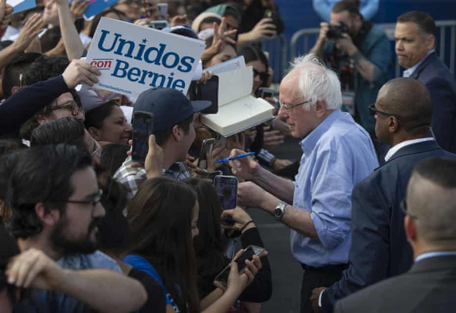 Bernie Sanders signs autographs at an event in Santa Ana, California, in February.