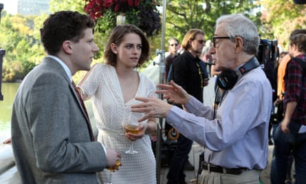 Allen on the set of Café Society with Jesse Eisenberg and Kristen Stewart