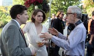 Woody Allen directing Jesse Eisenberg and Kristen Stewart in Cafe Society