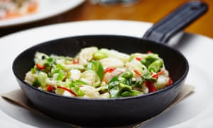 Cod cheeks with garlic, chilli and spring onion.
