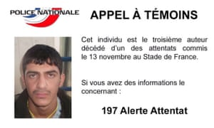 French officials released a picture of third man they believe tried to bomb the stadium during the Paris attacks.