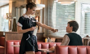 Baby diner … Lily James and Ansel Elgort.