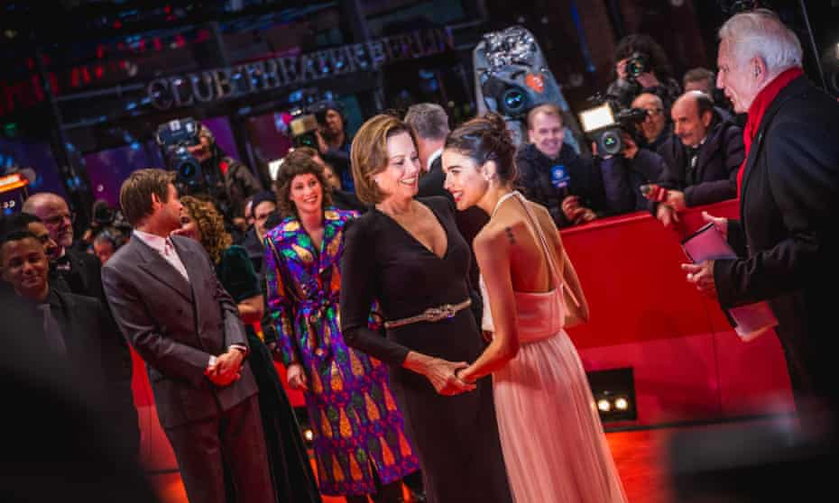 Sigourney Weaver and Margaret Qualley arrive for the Berlin premiere of Philippe Falardeau's My Salinger  Year