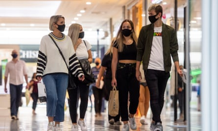 Shoppers wear face masks in the Arndale Centre in Manchester