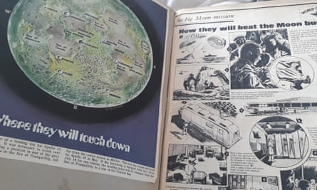 Pages from Suzanne Moore's 1969 moon landing scrapbook.