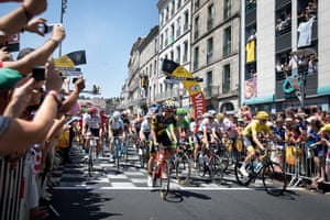 The riders include the yellow jersey-holder Chris Froome depart stage 16 of the Tour de France in Le Puy-en-Velay