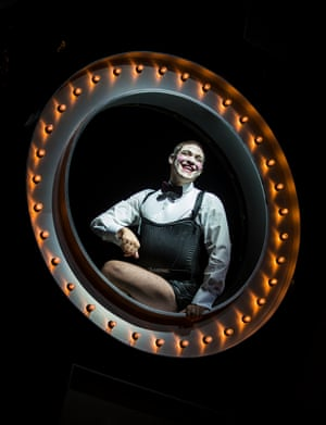 Young as the enigmatic Emcee, who was played by Joel Grey in Bob Fosse's iconic 1972 film