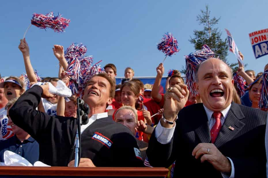 In this picture from October 2003, Giuliani supports Arnold Schwarzenegger in his bid to become California's governor.