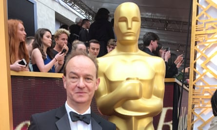 First of the selfies ... Peter Bradshaw with the Oscars statue.