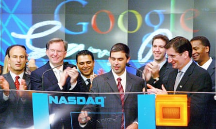Google co-founder Larry Page, centre, at the company's flotation on the Nasdaq stock exchange in 2004.