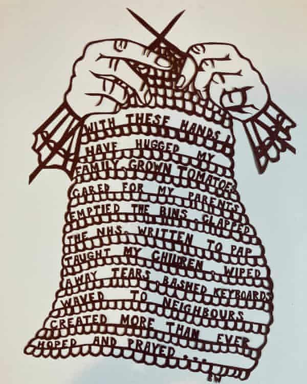 Illustration of hands weaving