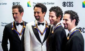 Hamilton choreographer Andy Blankenbuehler, composer Lin-Manuel Miranda, director Thomas Kail and music director Alex Lacamoire