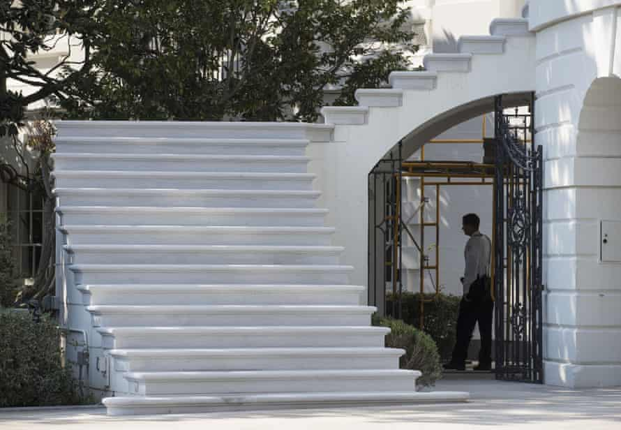 New treads … steps to the South Portico porch of the White House.