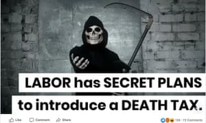 A Facebook post during the 2019 election claiming Labor has secret plans to introduce a death tax