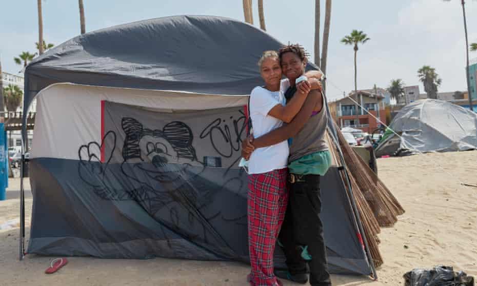 Dawn Little and Kia Little outside their tent at Venice Beach.