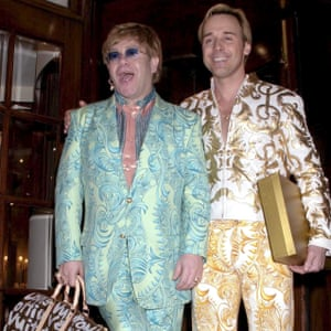 With husband David Furnish at the Ritz, 2001.