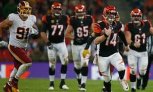 Andy Dalton, the Cincinnati Bengals quarterback, makes a break at Wembley