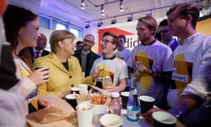 Young CDU members, including Endrik Schulze, centre, meet Angela Merkel at the end of last year's election campaign.