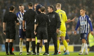 Everton manager Marco Silva remonstrates with the referee at the end of his team's defeat at Brighton.