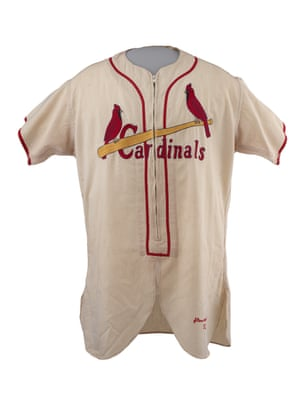 A classic design for the St Louis Cardinals worn by Stan Musial, nicknamed Stan the Man in 1952, featuring a zip, a design feature retired in 1956