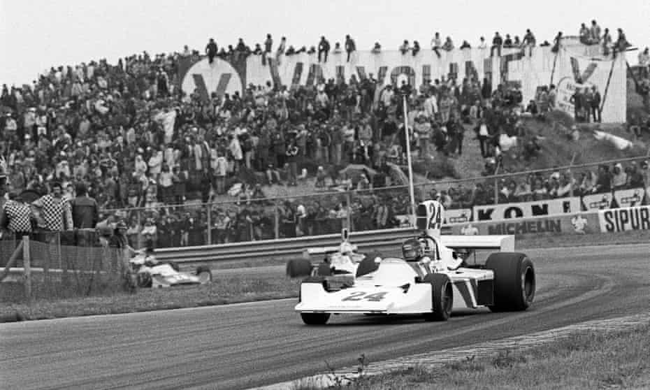 James Hunt on his way to his first grand prix victory at Zandvoort in 1975