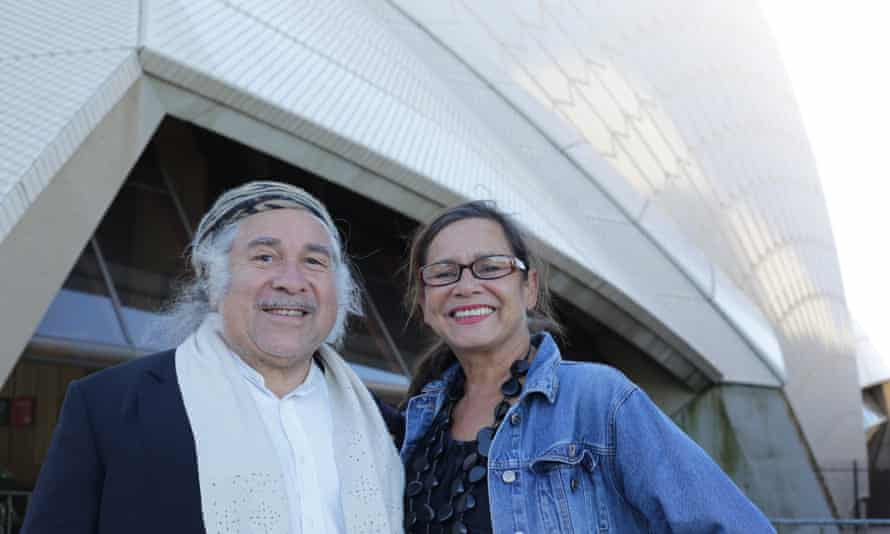 Djon Mundine and Rhoda Roberts at the Sydney Opera House.