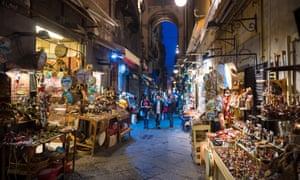 Night time view of the famous 'Christmas Alley' (Via San Gregorio Armeno), Naples, Italy