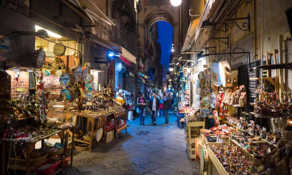 Night time view of the famous 'Christmas Alley' (Via San Gregorio Armeno), Naples, Italy