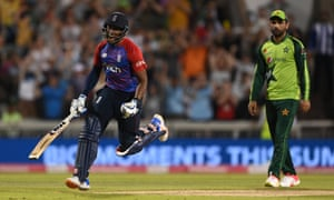 England batsman Chris Jordan celebrates after scoring the winning runs.