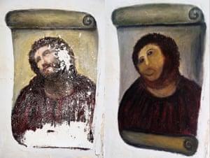 Borja's Ecce Homo-style fresco of Christ , left and Cecilia Giménez 'restored' version.