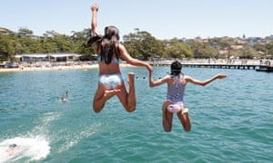 Sydneysiders cool off at Balmoral Beach on Boxing Day