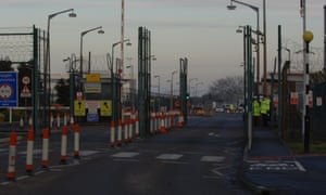 The high security gates of the Atomic Weapons Establishment