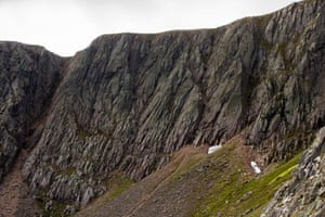 Snow patches: Pinnacles (right) and Sphinx (left). The snow patches of Scotland are about to disappear, according to snow patch expert Iain Cameron.