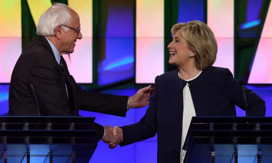Bernie Sanders and Hillary Clinton shake hands