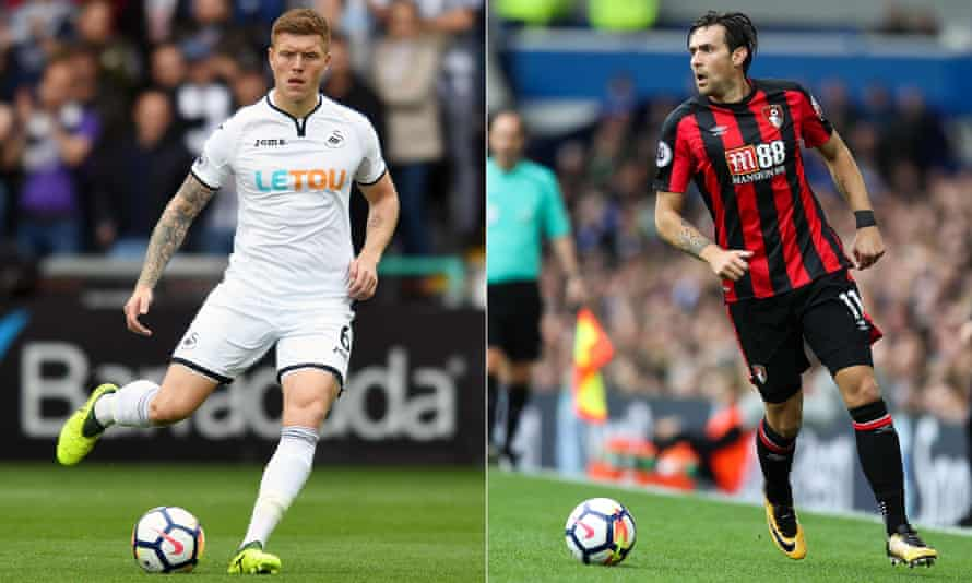 Swansea's Alfie Mawson, left, and Bournemouth's Charlie Daniels have joined the Common Goal initiative.