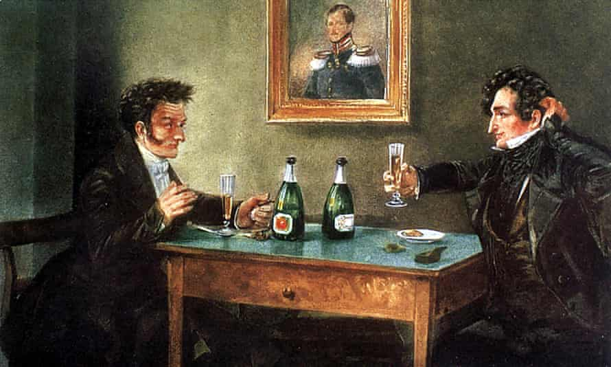 Ernst Theodor Amadeus Hoffmann, left, in a painting with actor Ludwig Devrient from 1810.