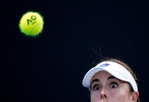 Alize Cornet eyes the ball during her 5-7, 6-1, 6-0 victory over Monica Niculescu