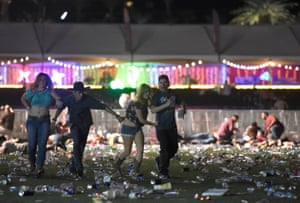 People flee the scene at the Route 91 Harvest country music festival